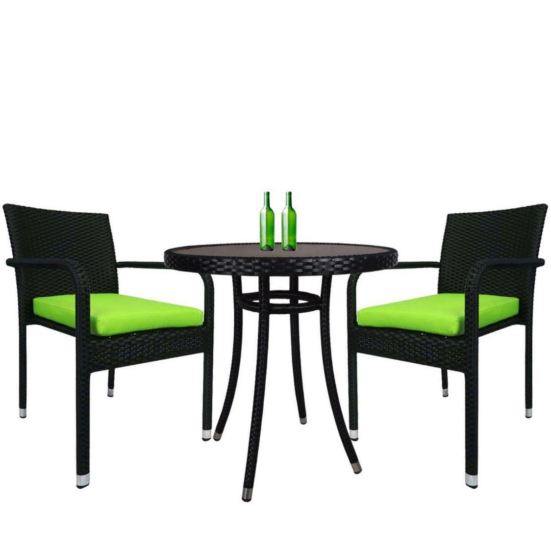 Balcony 2 Chair Bistro Set Green Cushion
