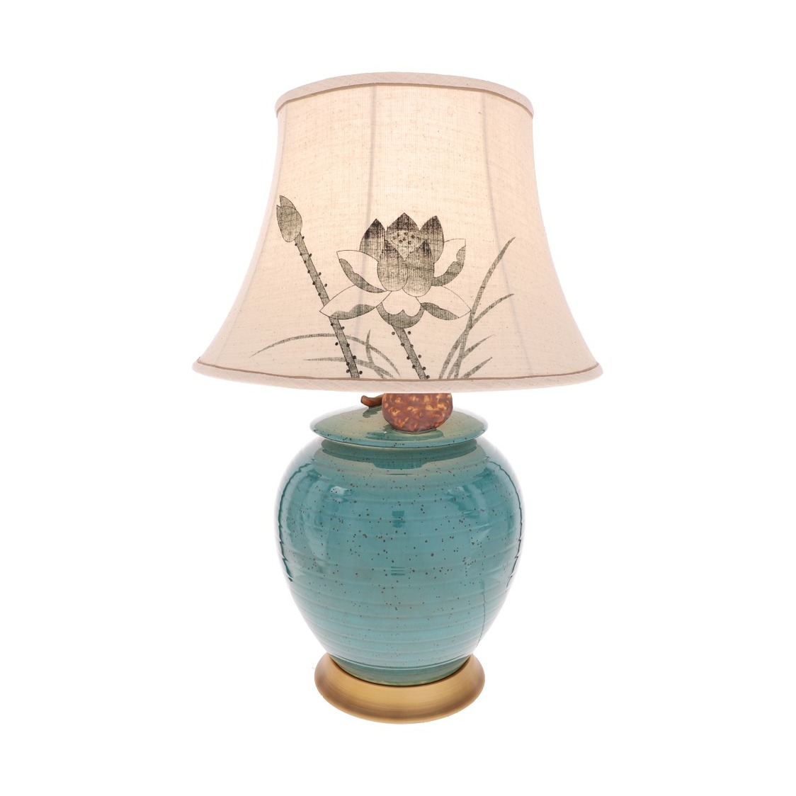 Porcelain Vase Lamp in Turquoise