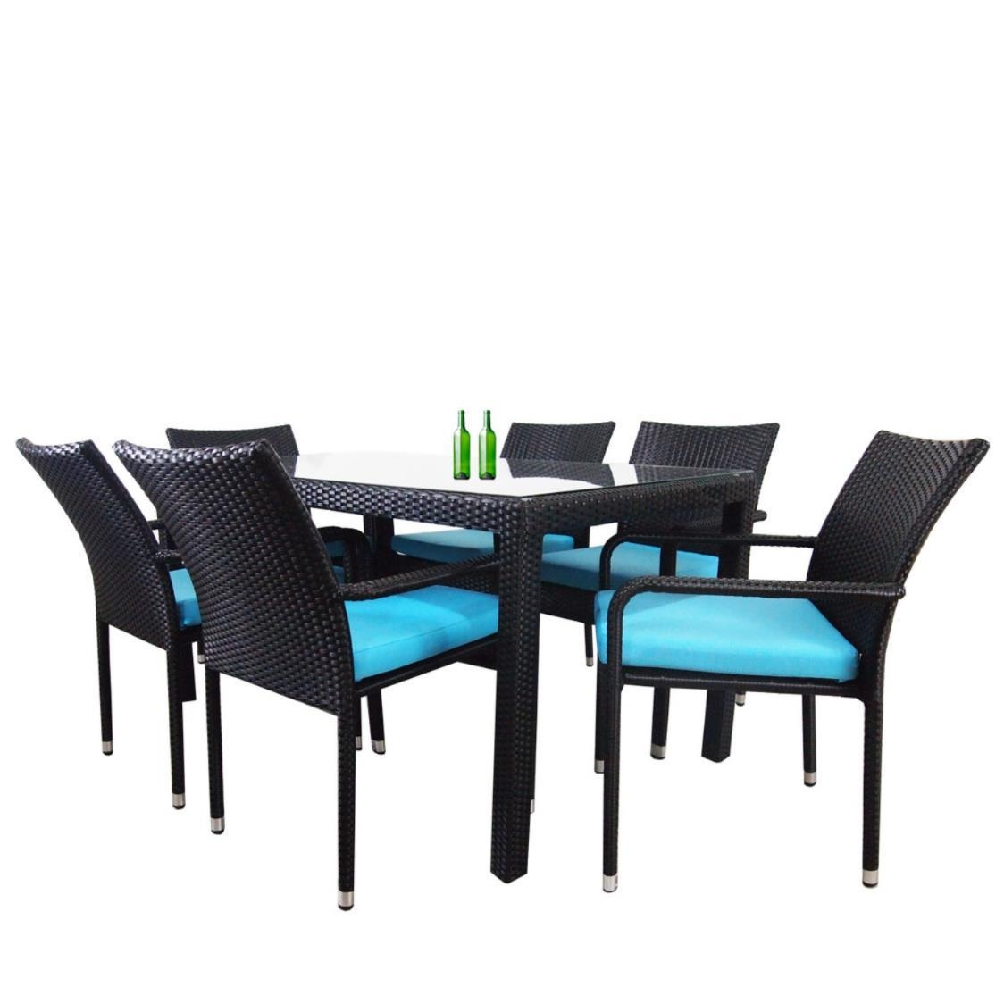 Boulevard 6 Chair Dining Blue Cushion