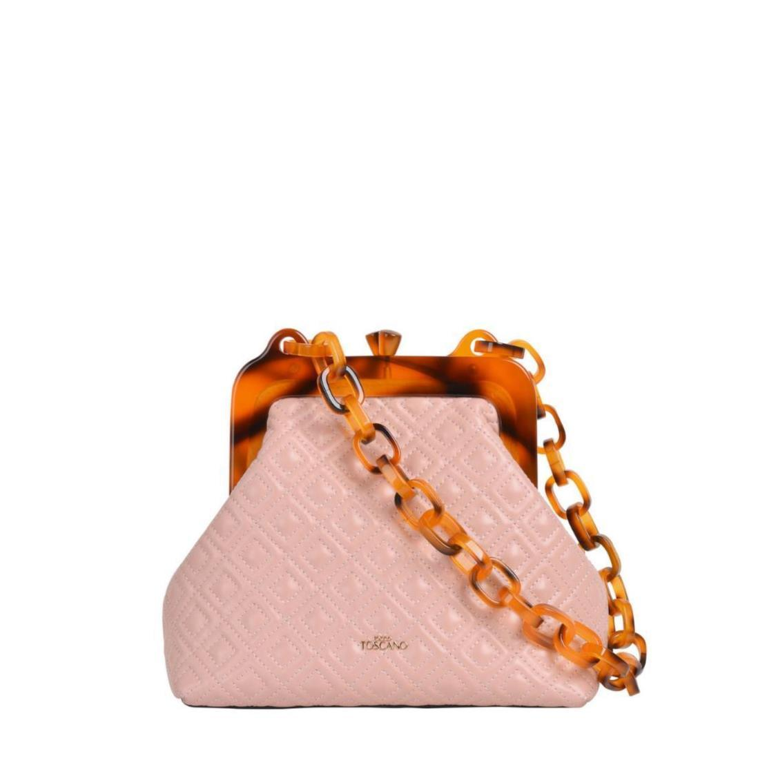 Hepburn Quilted Leather Shoulder Bag with Acrylic Chain