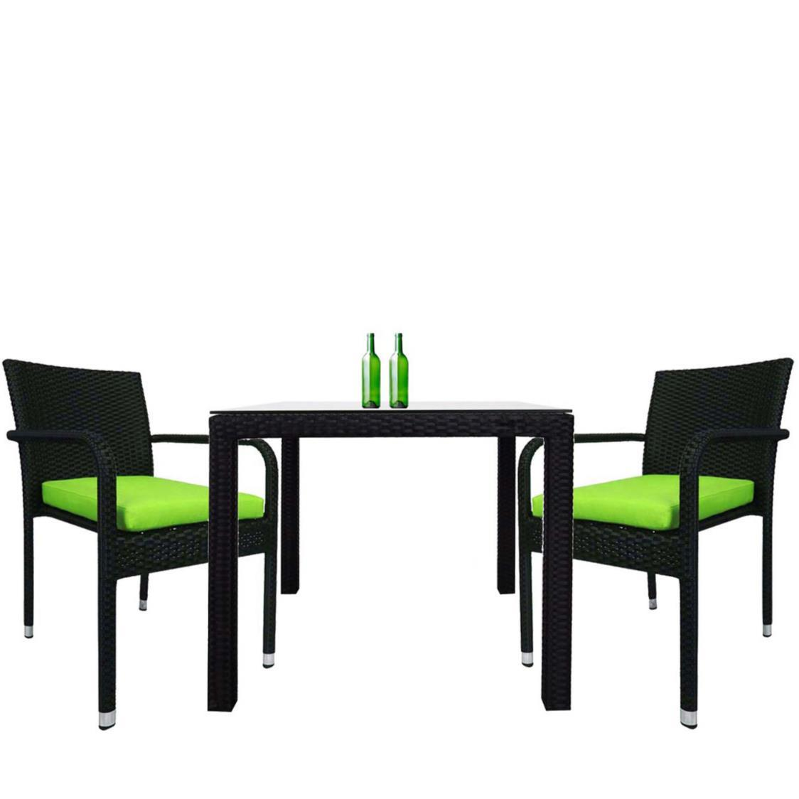 Palm 2 Chair Dining Set Green Cushion