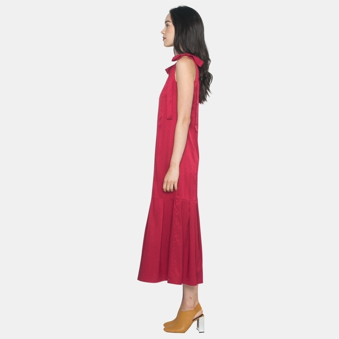 Ellysage Longline Dress with Shoulder Sash in Red