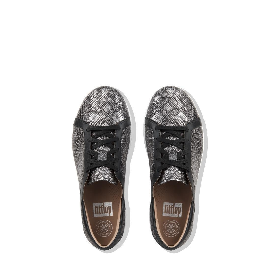 F-Sporty II Python-Print Leather Lace-Up Sneakers Black