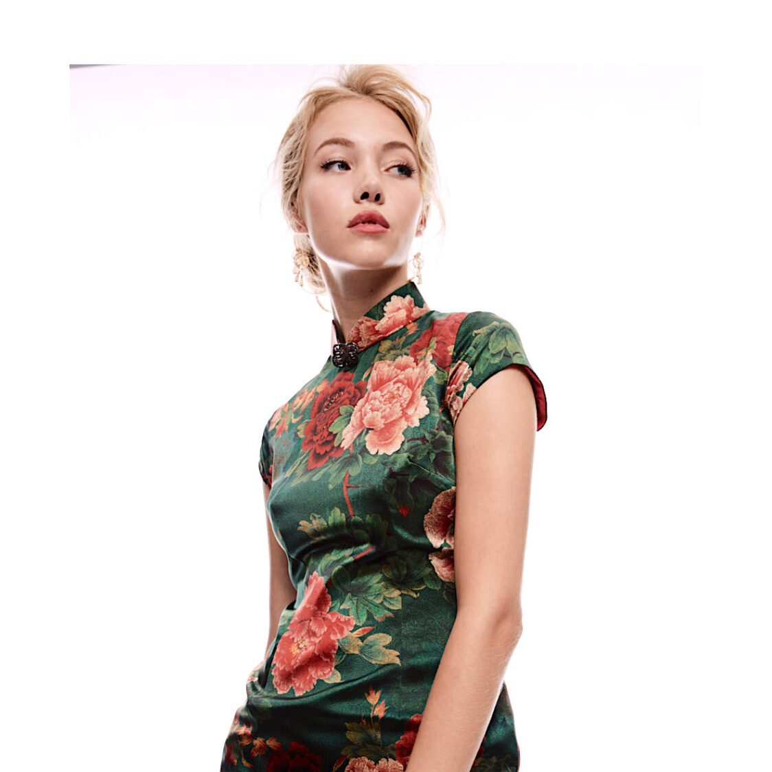 Peony Print Satin Stretch Silk Cheongsam in Moss Green
