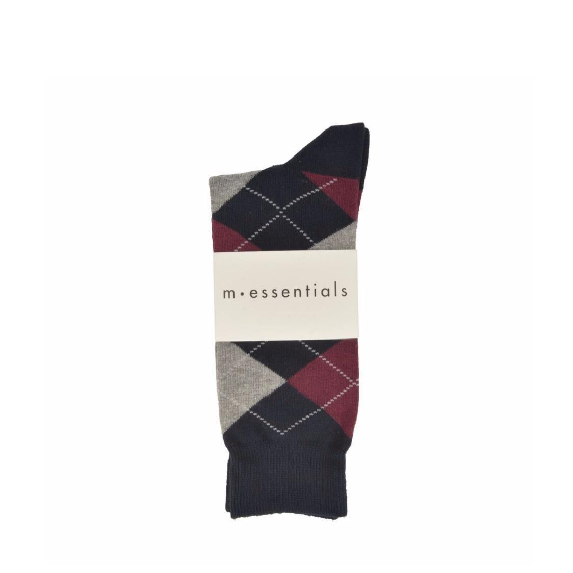 Mens Navy Long Socks With Grey and Maroon Argyle Pattern