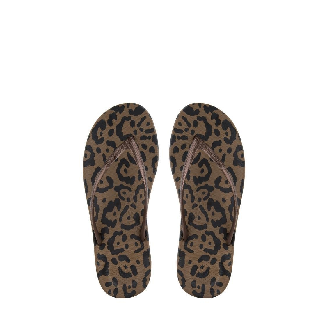 8a2f9bc4b137a3 iQushion™ Leopard-Print Flip Flops Bronze Metro Department Store