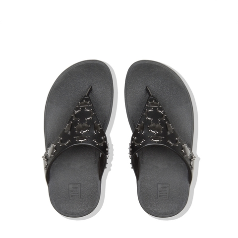 3f31ffb08a2 FITFLOP. Lottie Crescent Stud Toe Post Black