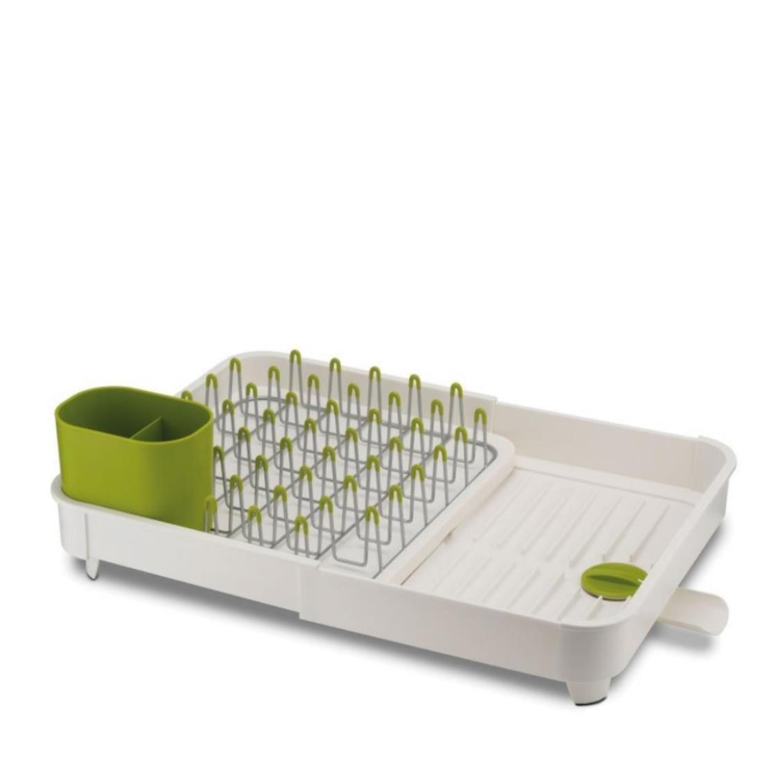 Expandable Dish rack with Draining Plug Grey  Green