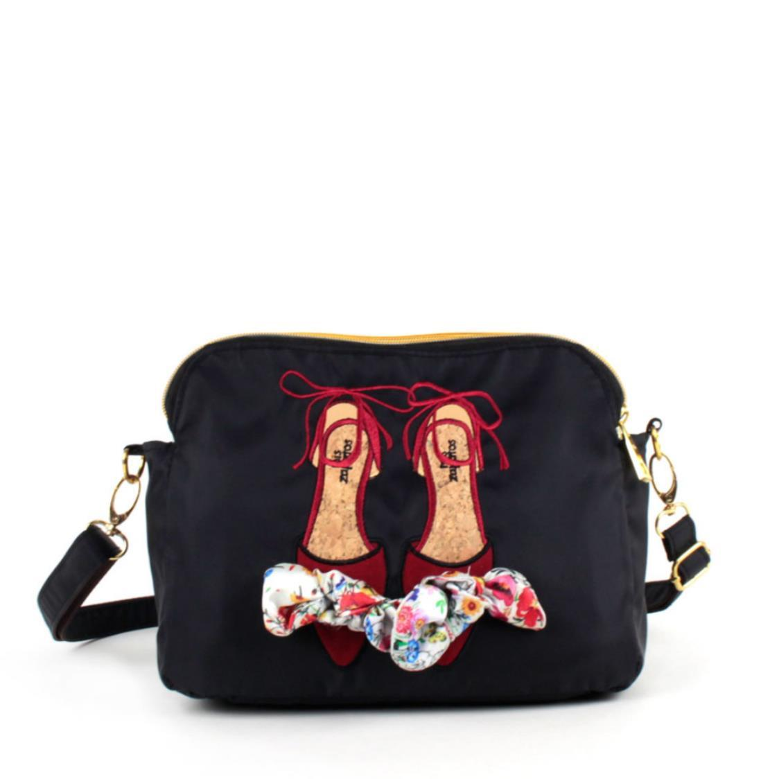2-Way Use Ladies Shoes with Floral Ribbon Slingbag Black