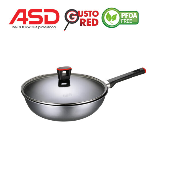 ASD Gusto Red 28cm Non-Stick Stirfry Pan With Glass Lid HP8328GL-RD