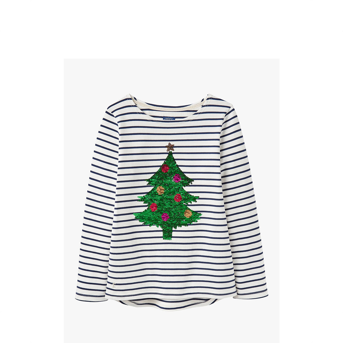 Harbour Luxe Long Sleeve Jersey Top Xmas Tree Stripe