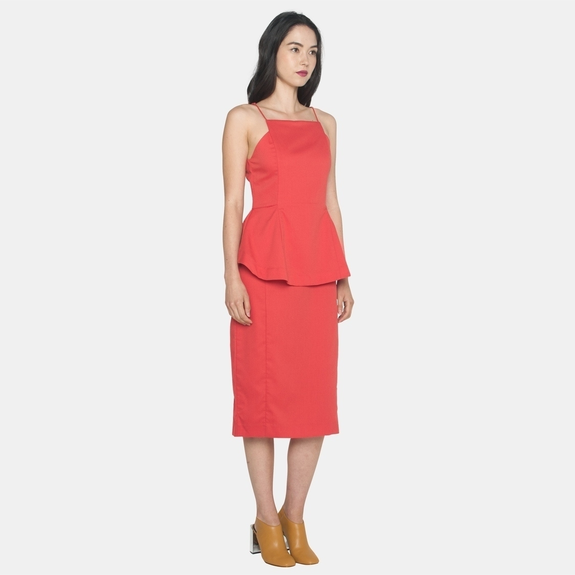 Ellysage Peplum Cami Pencil Dress in Coral