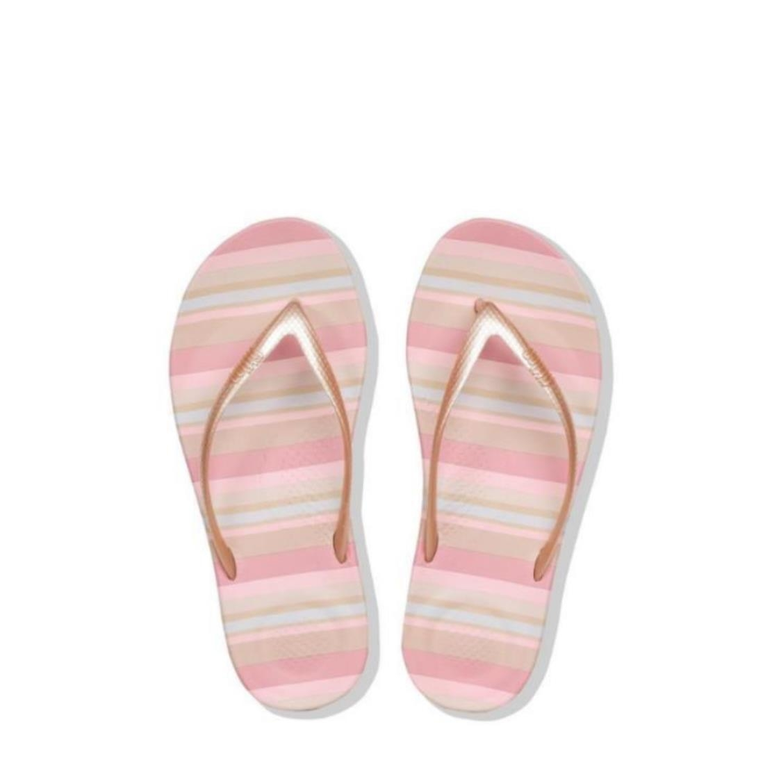 iQushion Stripey Ergonomic Flip Flops Nude Mix