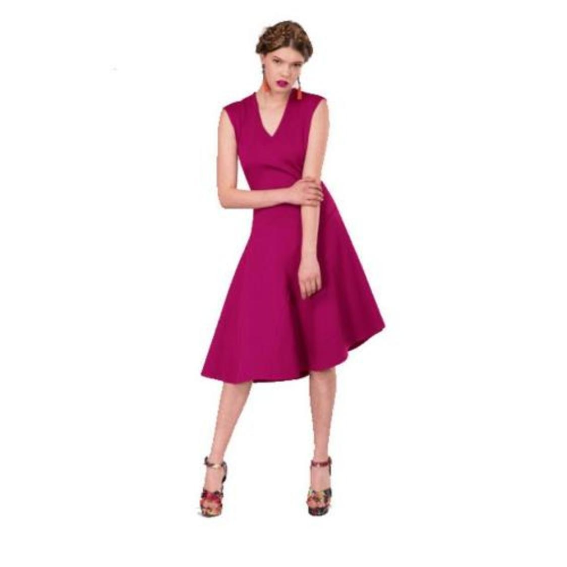 Asymmetric Flared Dress Magenta