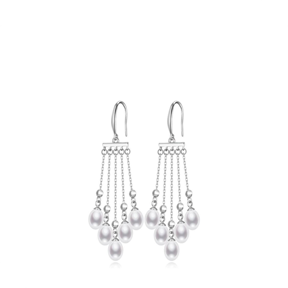 Cluster Pearl Earrings 925 Sterling Silver Plated with Rhodium