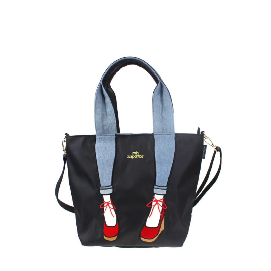 2-Way Use Jeans with Wedges Totebag Black