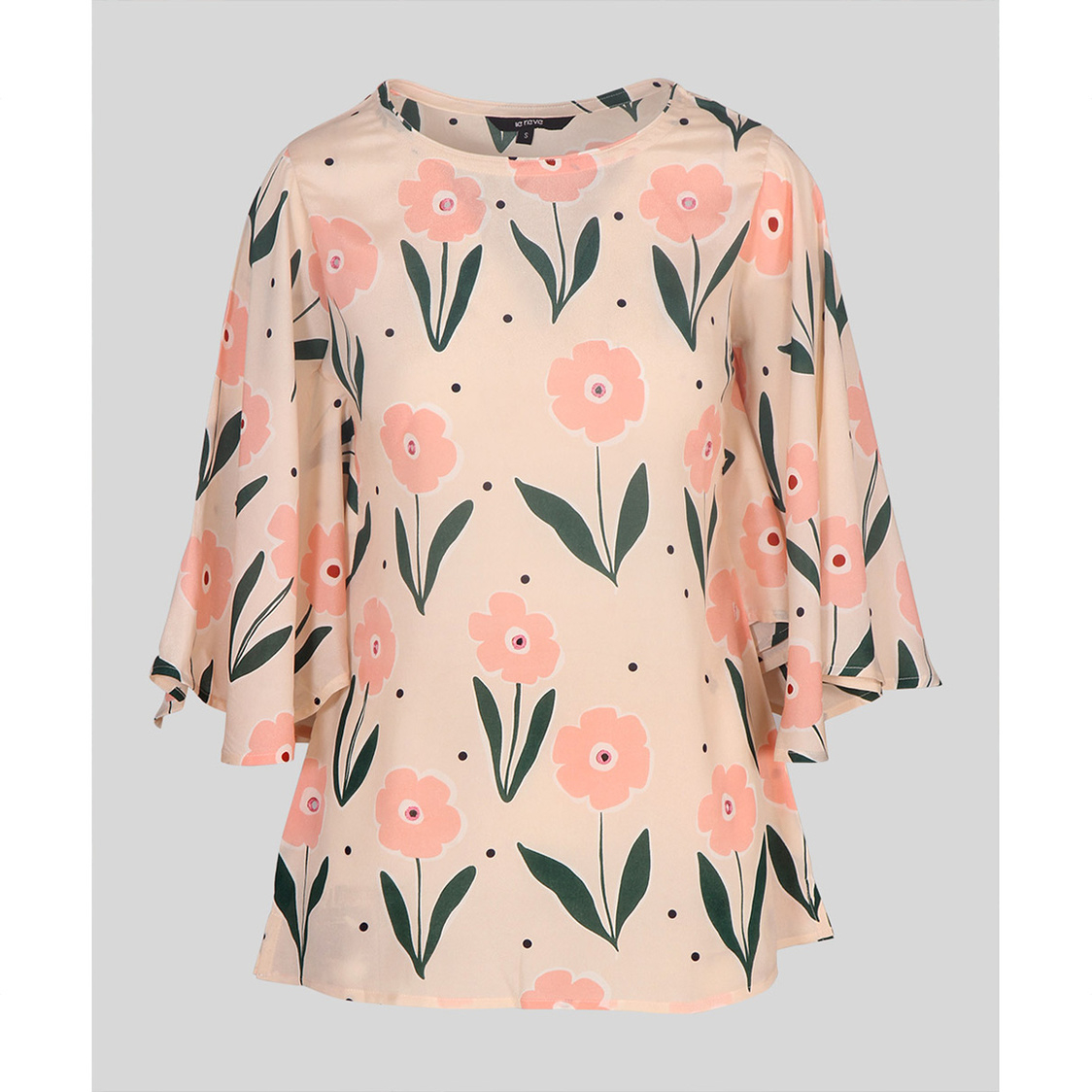 Peach Combo Butterfly Sleeve Top