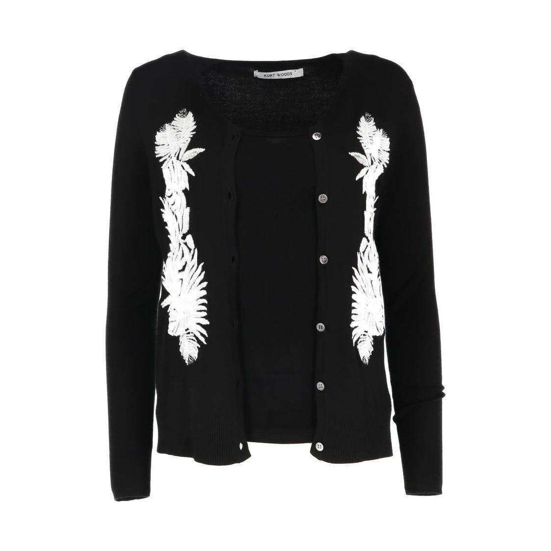 Floral Embroidered Black Cardigan