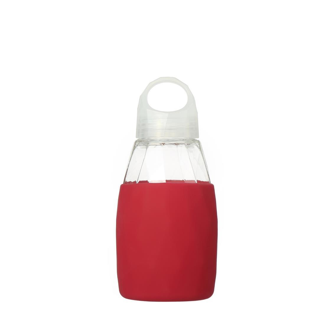 Prism Glass Water Bottle Red 350ml