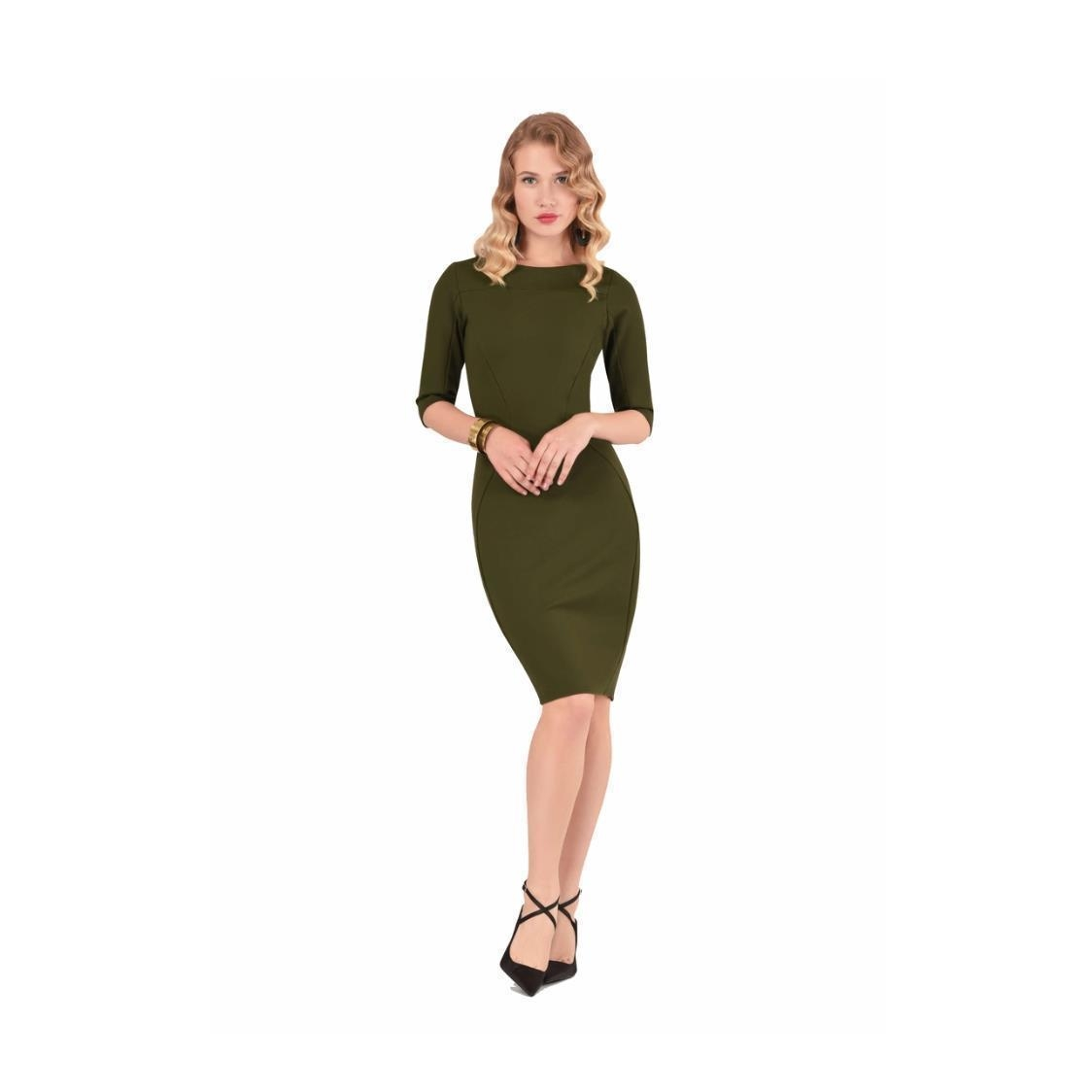 Olive Long Sleeve Panel Bodycon Dress