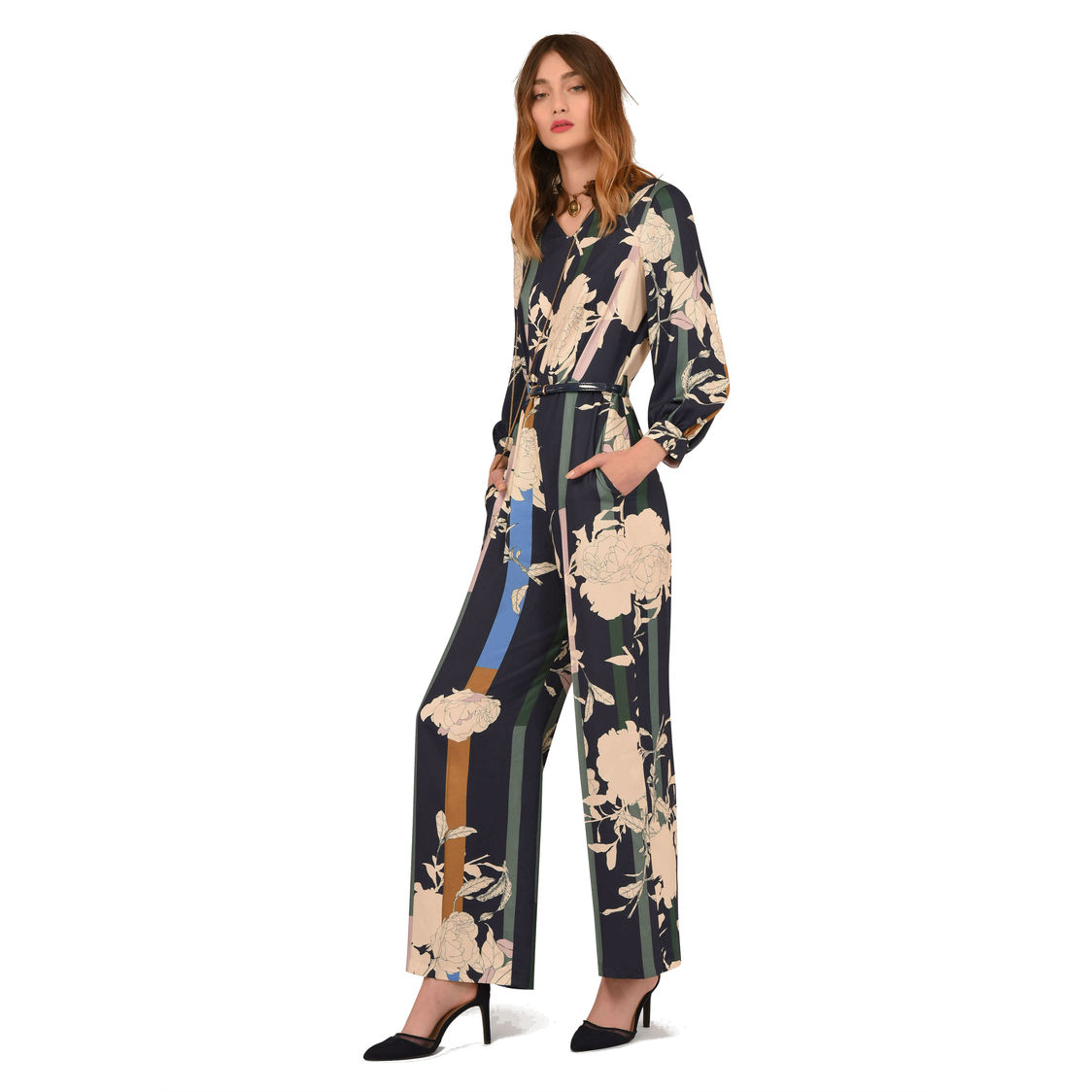 Navy Floral V-Neck Puff Sleeve Jumpsuit with Belt