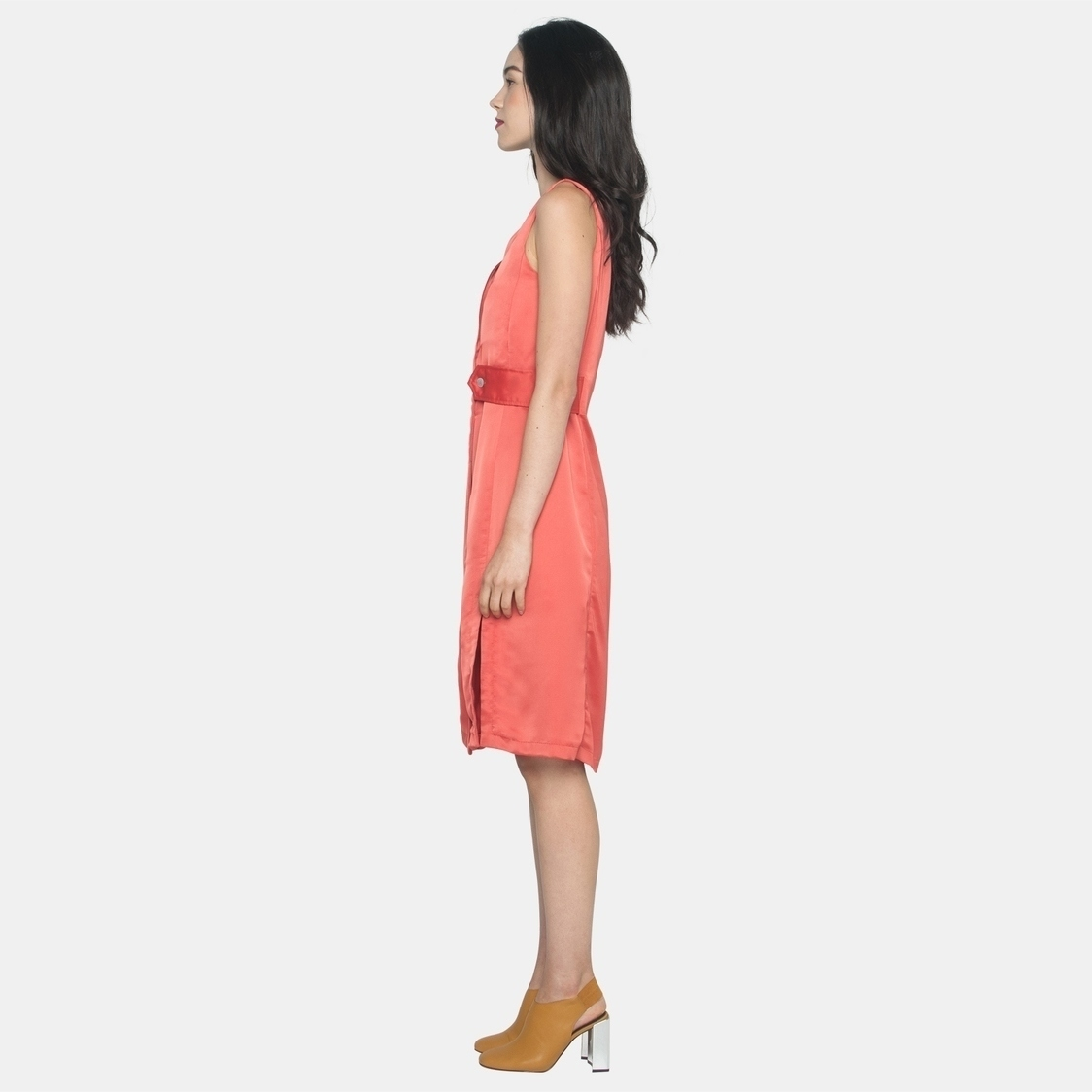 Ellysage Belted Shirt Dress with Slits in Orange