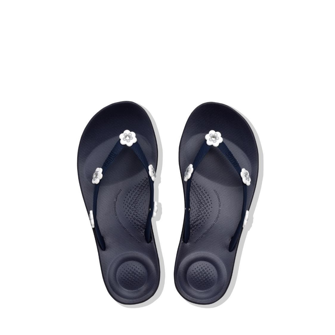 iQushion Flower-Stud Ergonomic Flip Flops Midnight Navy