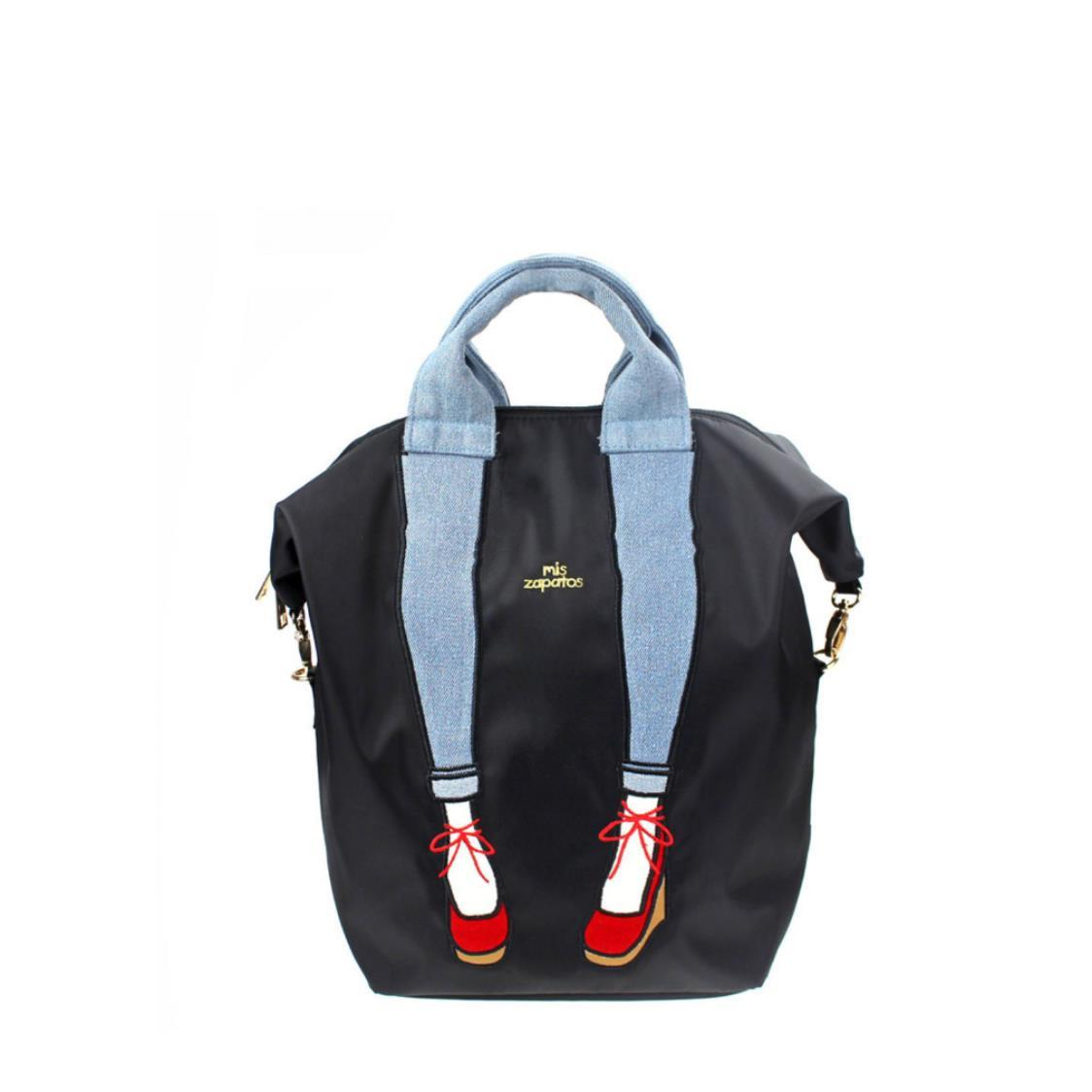 3-Way Use Jeans with Wedges Backpack Black