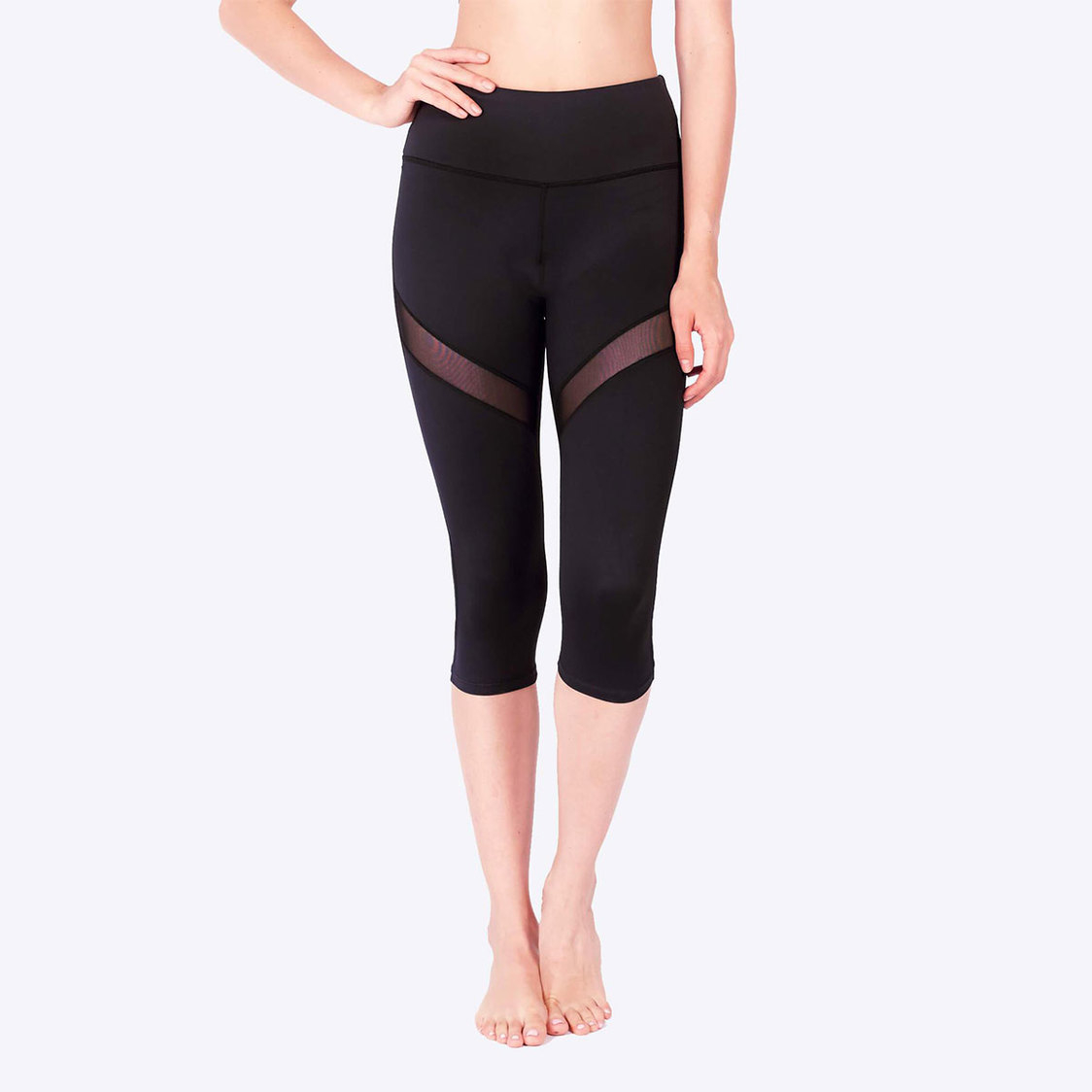 LIMITLESS Striped Mesh 34 Capris with Keeperband in Black