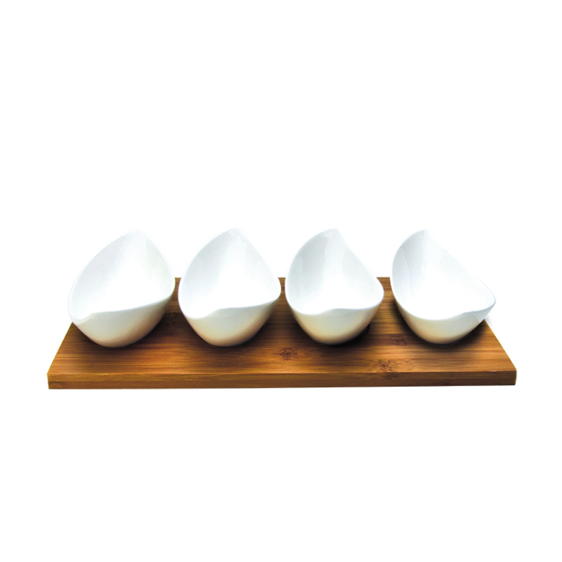 Banana Boat 4 Condiment Bowls On Bamboo Base SR-50