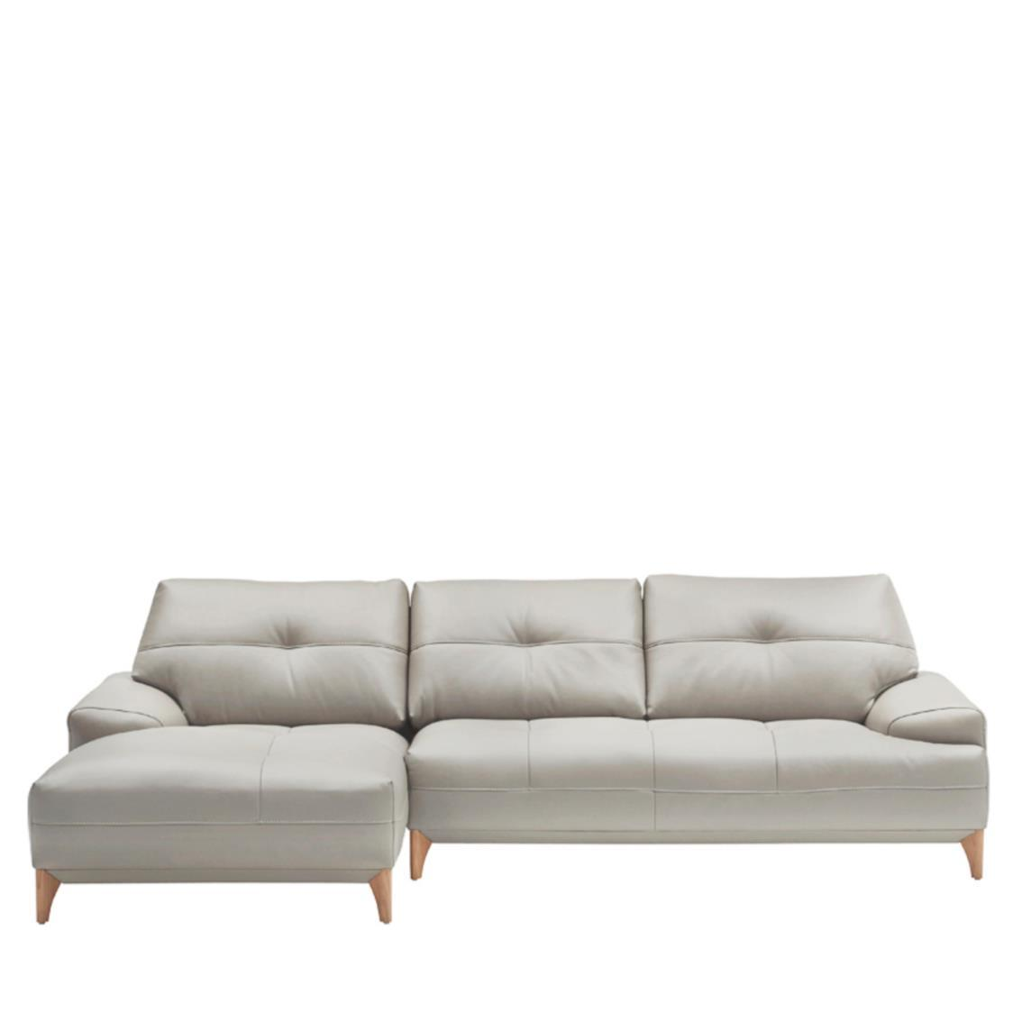 Boston Leather Couch L L391C Cloud