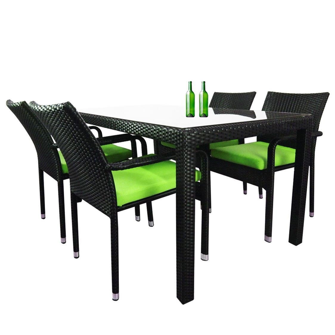 Boulevard 4 Chair Dining Green Cushion