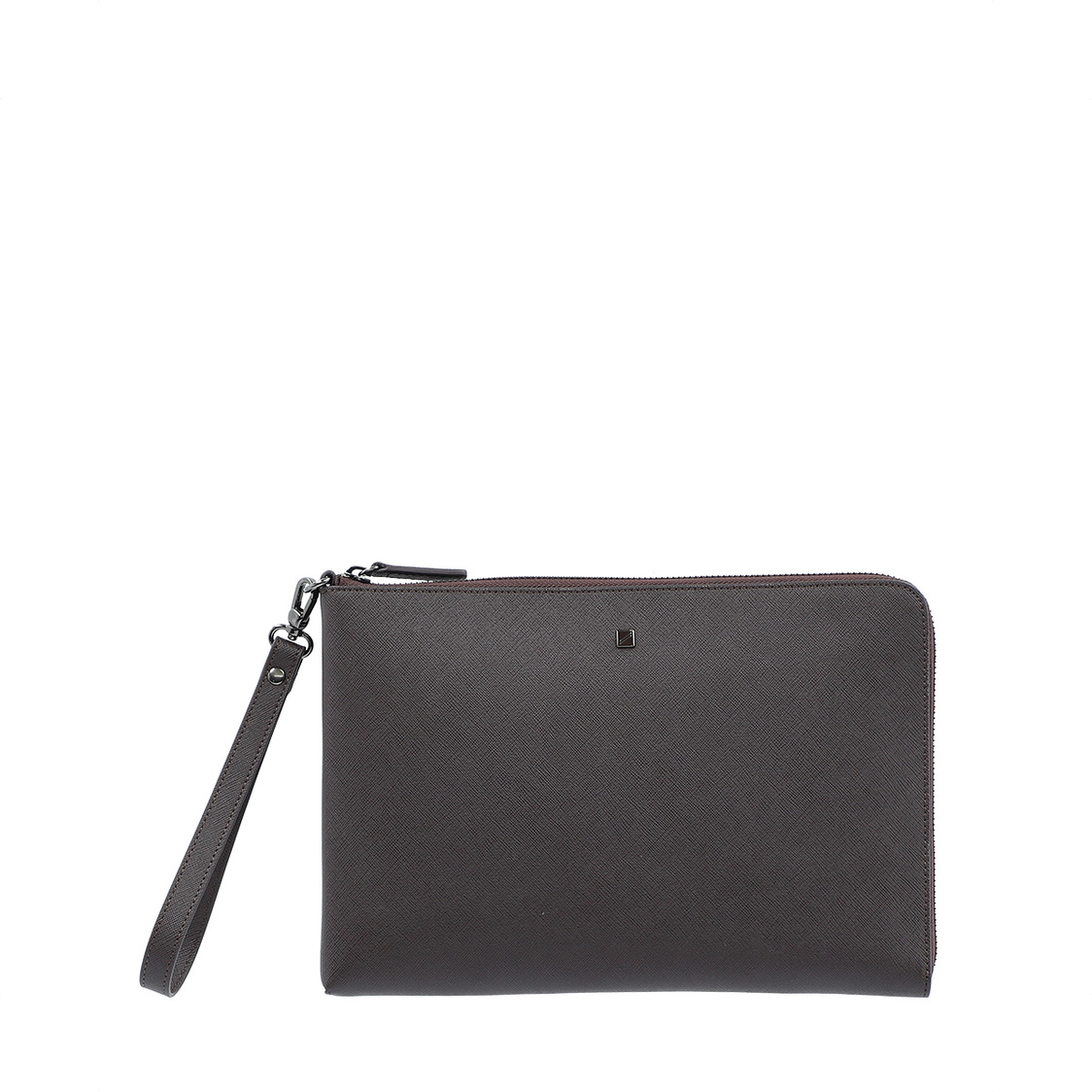 Leather Clutch Bag in Dark Brown