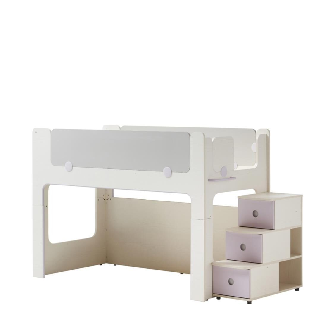 Cabin Bunk Bed Stairs Cabinet FIVLU Finland Ivory Light Purple