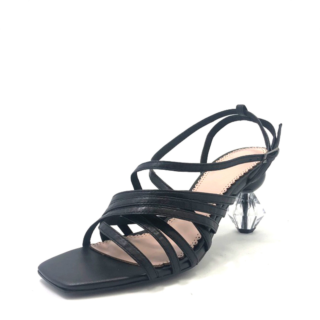 Strappy Sandals with Geometric Heel Black