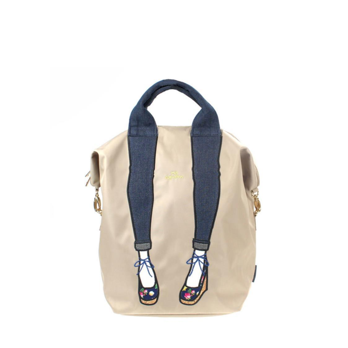 3-Way Use Jeans with Wedges Backpack Beige