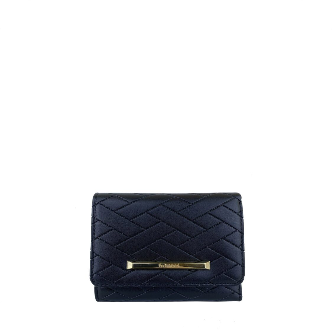 PerlliniMel Weave Embossed Mid-Size Wallet with Zip Around Compartment X Black