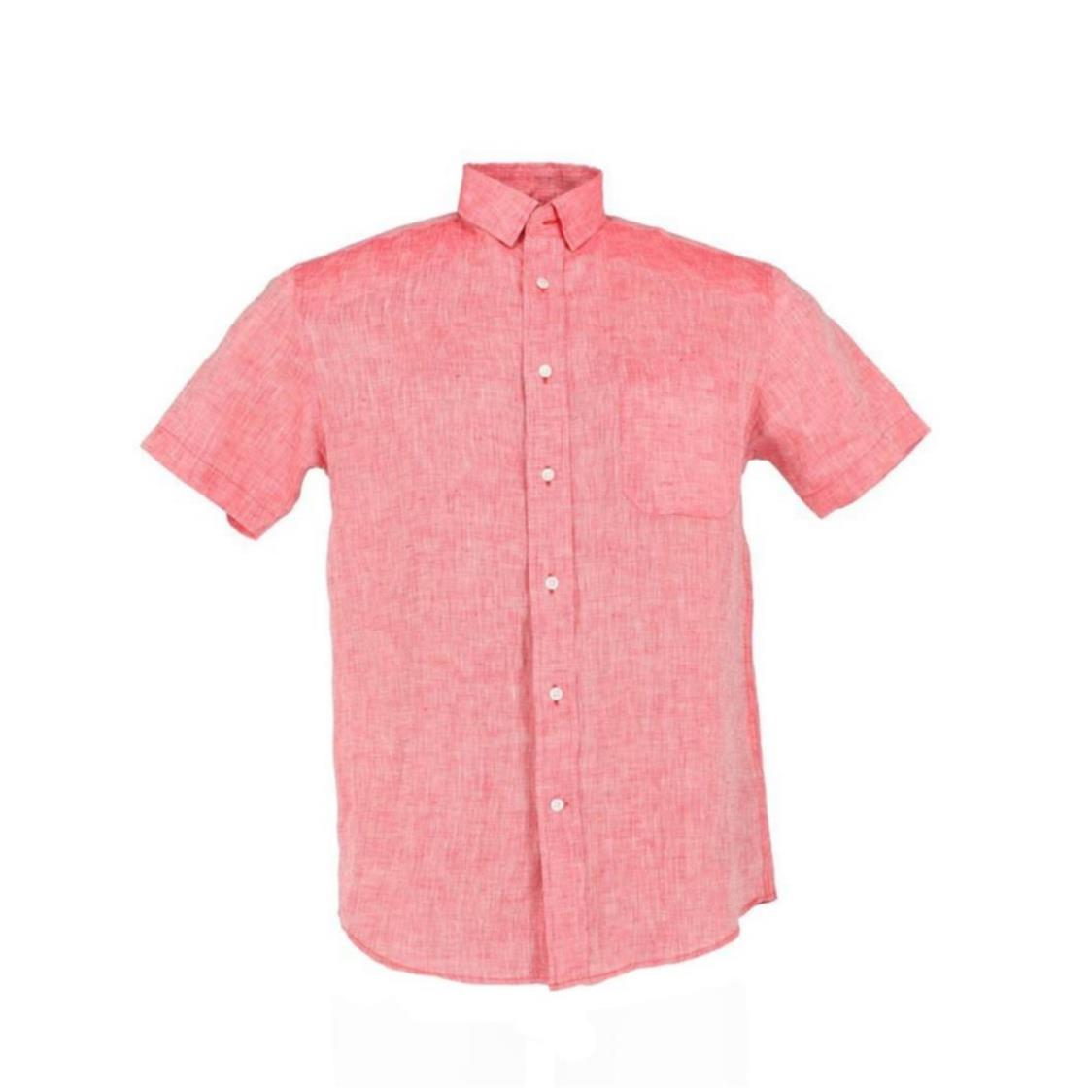 Mens Short Sleeve Linen Slim Shirt in Red
