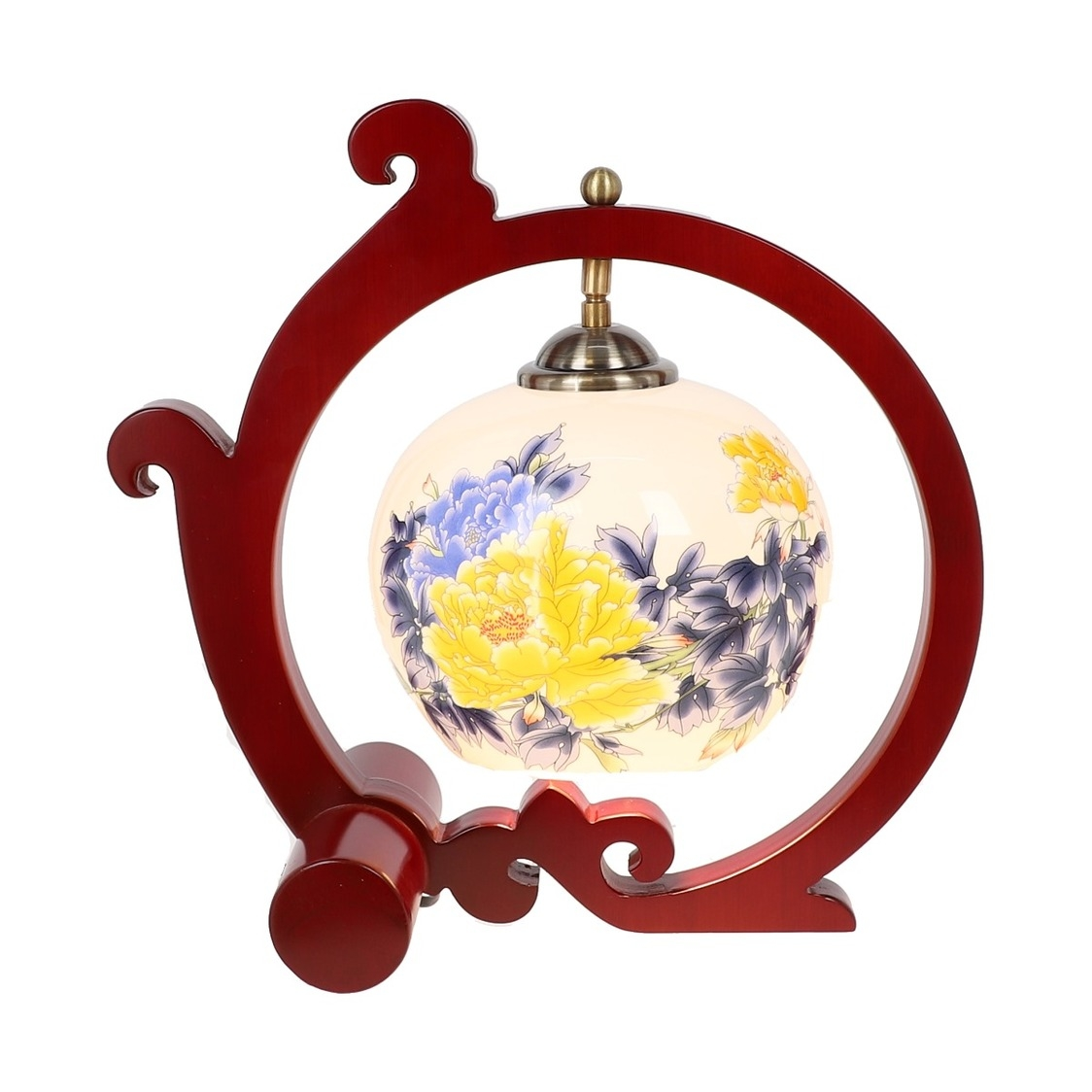 Tradition Cloud Frame Porcelain Lamp in Yellow Peonies