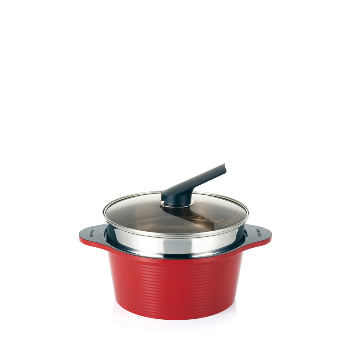 Happycall 24cm IH Alumite High Pure Ceramic Die Cast Stock Pot With Steamer Set Made In Korea 3900-2228