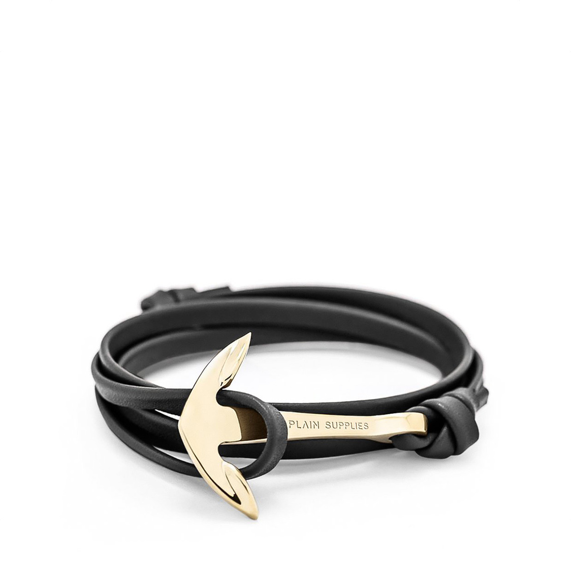 Gold Anchor Bracelet  Black Leather