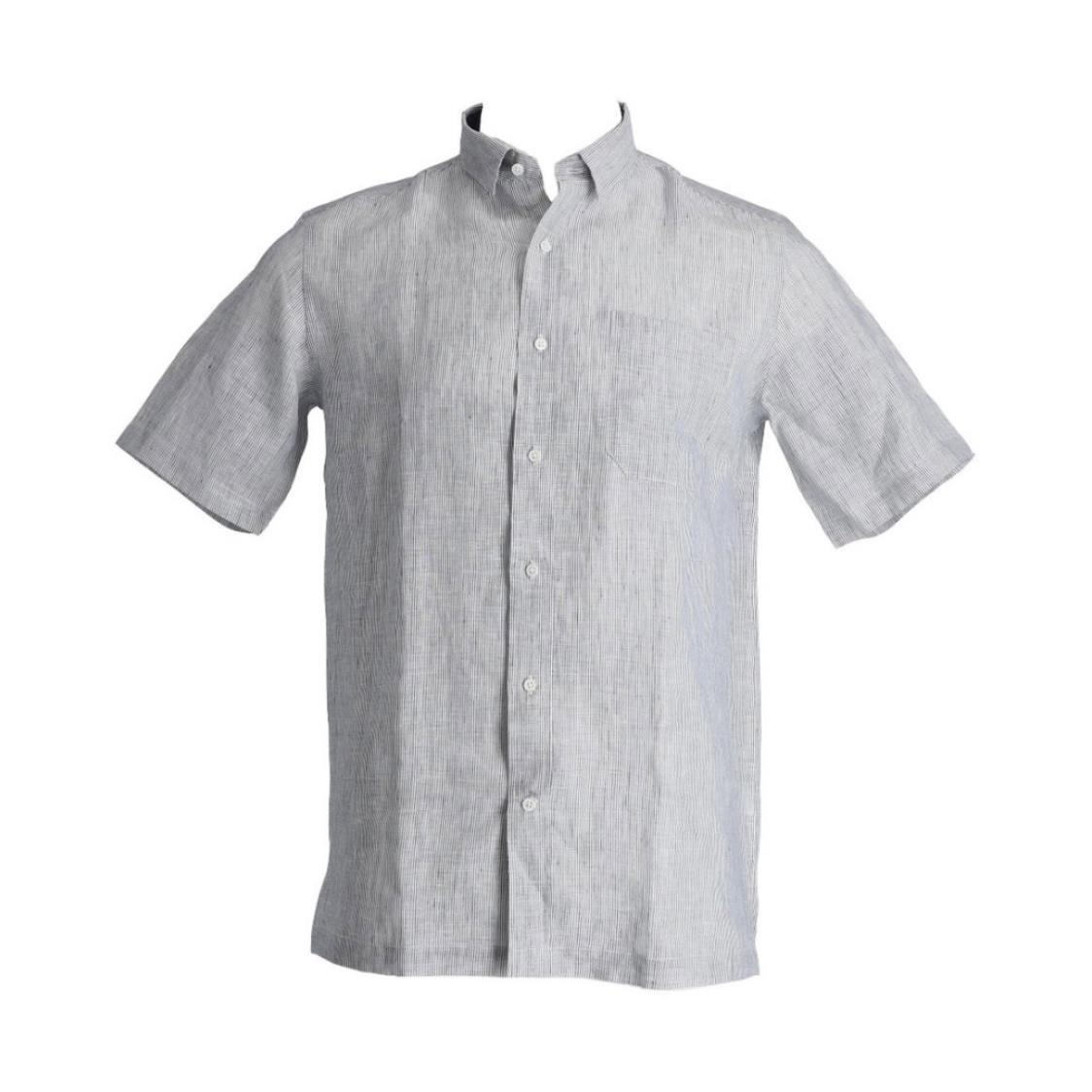 Mens 100 European Linen Short Sleeve Tailored Fit Shirt With Contrast Collar Lining Navy Stripes