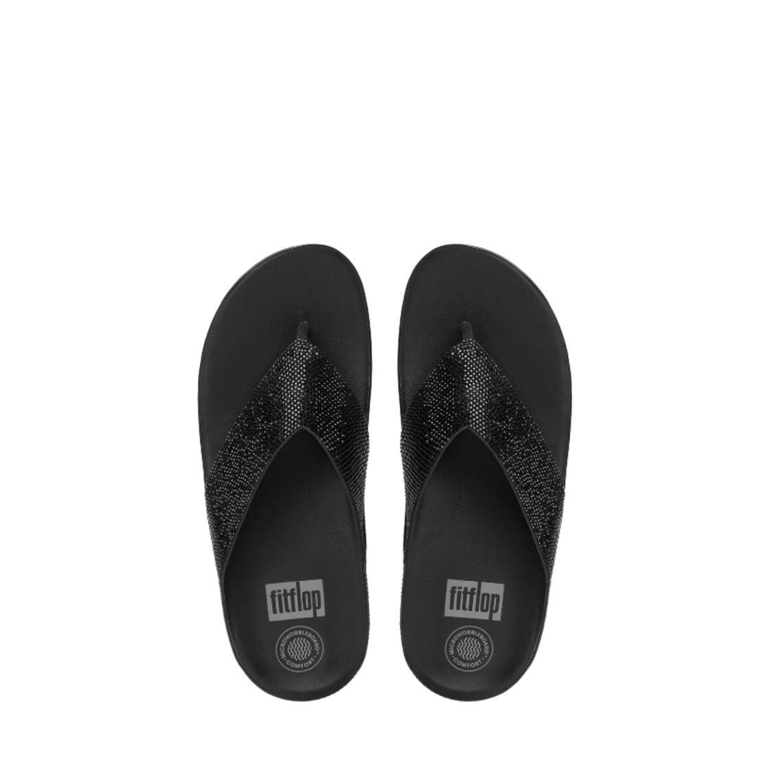 Crystall Toe-Thong Sandals Black