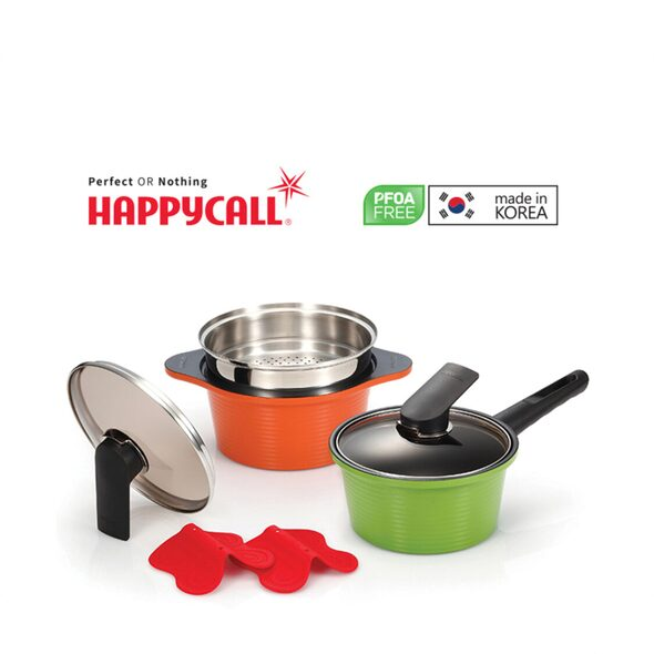 Happycall Alumite High Pure Ceramic 2pc Pots  Steamer Set FOC Happycall Forest Wood Ladle worth 1390 3900-20034004-1018