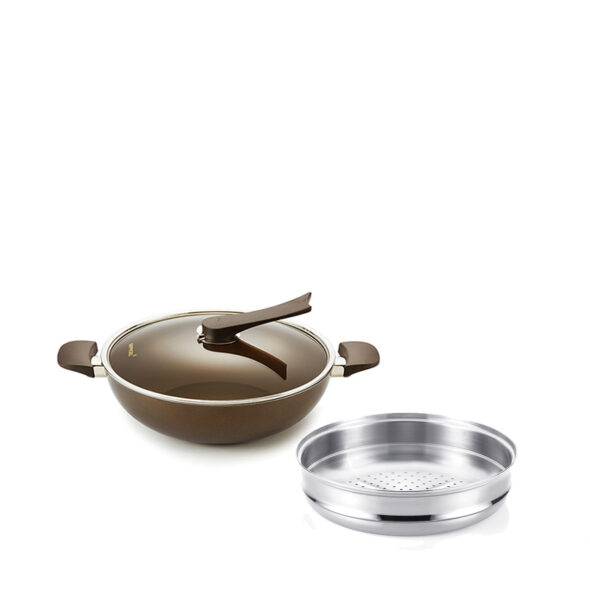 Happycall IH Gold 32cm Die Cast Wok With Lid  32cm Stainless Steel Steamer Made in Korea 3900-01923800-1005