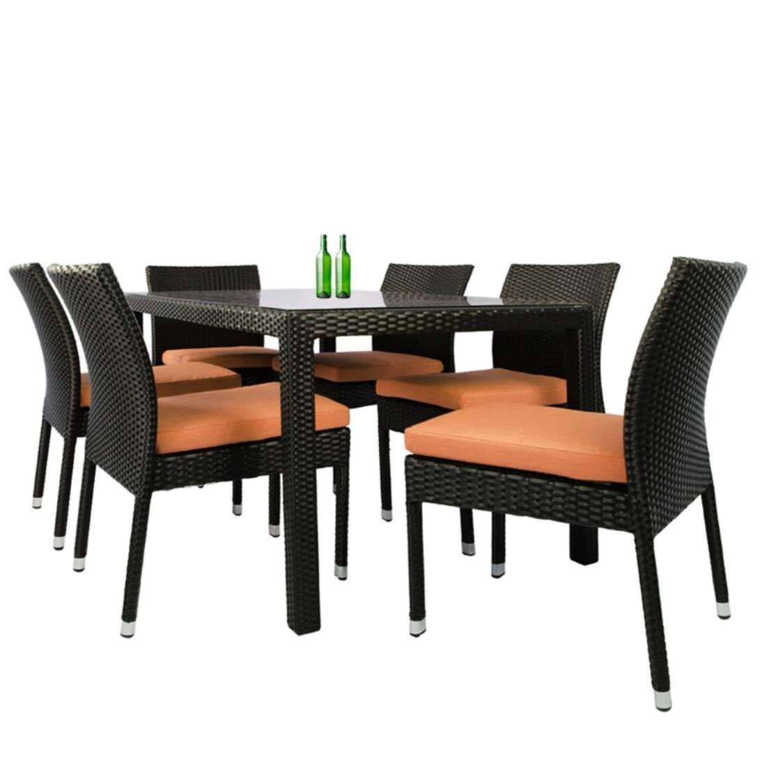 Casa 6 Chair Dining Set Orange Cushion