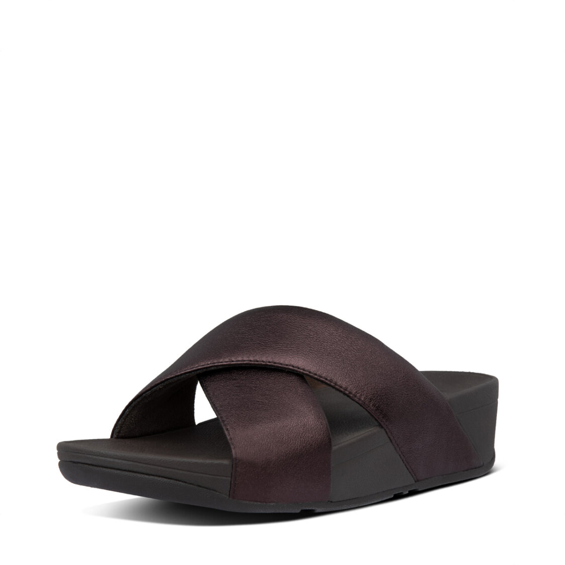 Fitflop Lulu Cross Slide Sandals Leather Chocolate Metallic