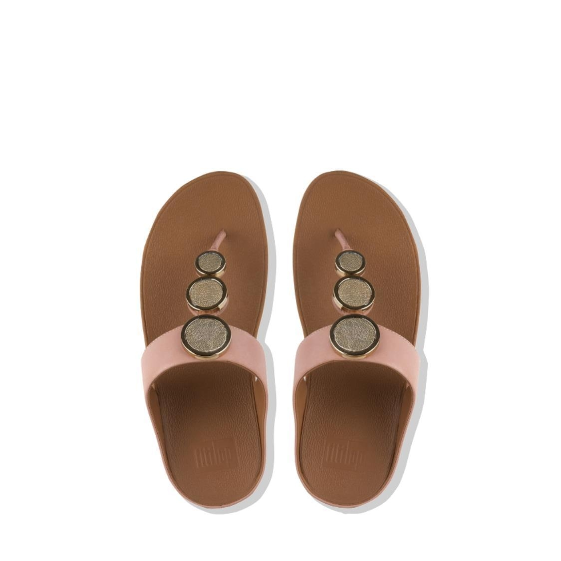 Halo Leather Toe-Thong Sandals Rose Gold