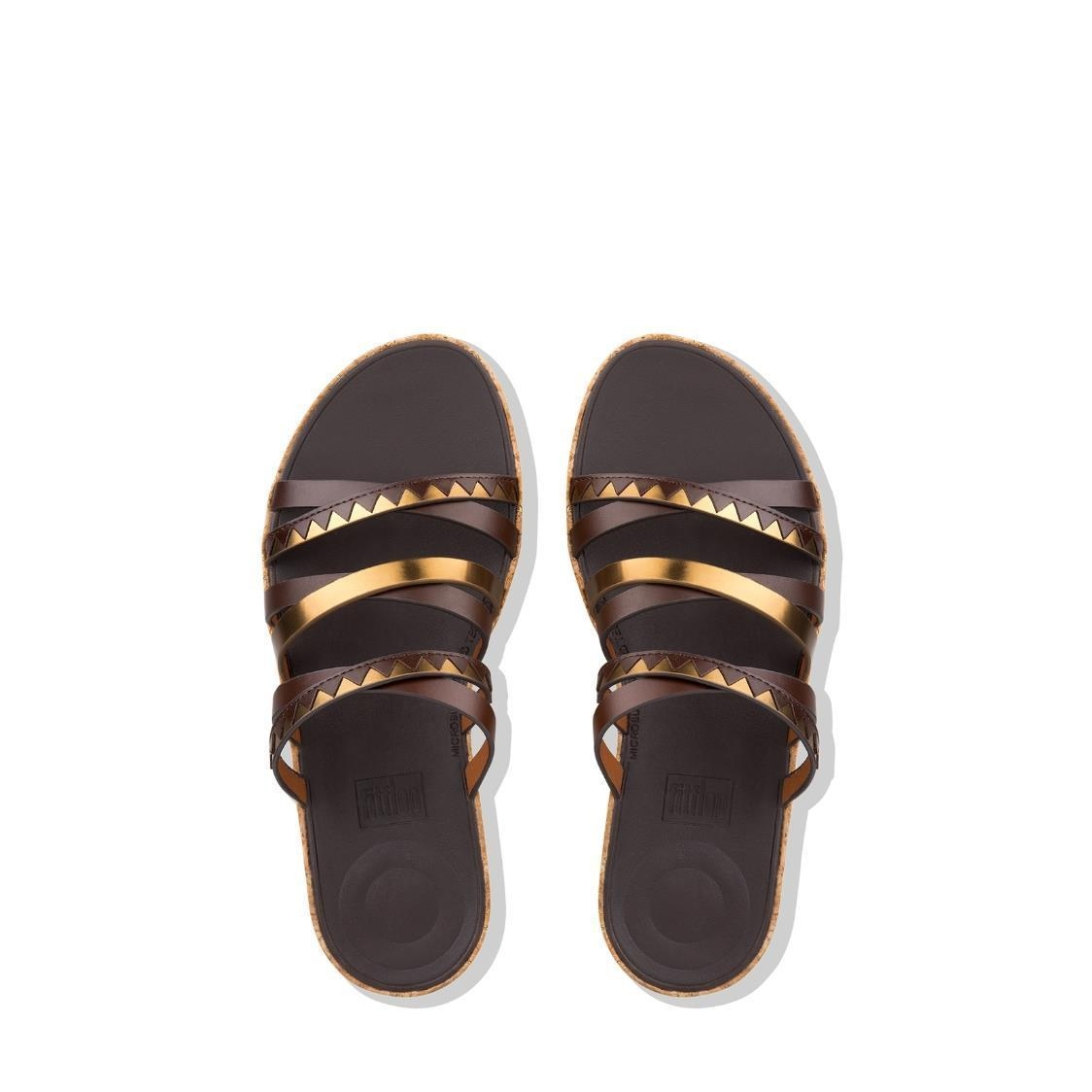 Linny Zigzag Mirror Slide Sandals EspressoBronze