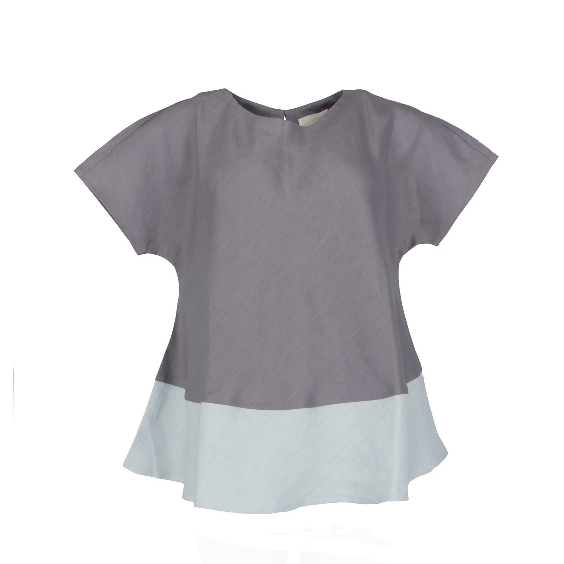 Colour Block Flare Linen Top in Grey